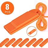 Flat Safety Whistle with Lanyard Outdoor Loudest Emergency Survival Whistle for Boating Camping Hiking Hunting Rescue Signaling Sports Training (Click to select flat whistle 8 packs)