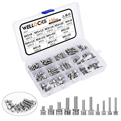 WELLOCKS Screws Set 136 PCS Hex Socket Cap Head 304 Stainless Steel M3/M4/M5 Screws Assortment Set with Spring Washer and Flat Washers Allen Socket Drive 18-8 A2-70 Full Thread with Storage Box (D037)