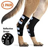 NeoAlly Dog Back Leg Braces [Long Version] Canine Ankle Braces with Safety Reflective Straps for Joint Injury and Sprain Protection, Wound Healing and Loss of Stability from Arthritis (Black XL Pair)
