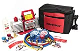 Kozyvacu AUTO AC Repair Complete Tool Kit with 1-Stage 3.5 CFM Vacuum Pump, Manifold Gauge Set, Hoses and its Acccessories … (KZTA35011)