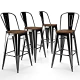 VIPEK Metal Bar Stools Set of 4 Bar Height Barstool Bar Chairs w Wooden Seat 30 Inch High Back Home Kitchen Cafe Side Dining Chairs Patio Bistro Restaurant Industrial Style, Gloss Black