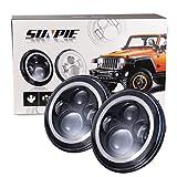 7' LED Headlights Bulb with White Halo Angel Eye Ring DRL & Amber Turn Signal Lights for Jeep Wrangler JK LJ CJ Hummer H1 H2
