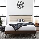 Edenbrook CanterburyUpholsteredWoodPlatform Bed Frame-Box Spring Optional, King, Dark Mahogany/Beige