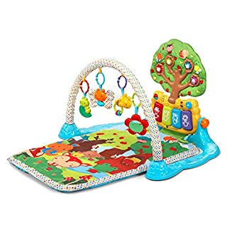 Colorful activity panel features piano keys and adjusts from exploring on their back to tummy-time play to sit and play mode to grow with your baby; drum button plays drum sounds Three electronic modes play music and sounds, age-appropriate vocabular...