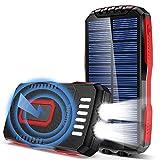 GRDE Chargeur Solaire 25000mAh Batterie Externe Portable avec 2 Lampes de Poche Ultra Lumineuses QI sans Fil...