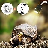 Lampe Reptiles Lampe Tortue Terrestre Chauffante pour Aquarium Éclairages 25W UVA UVB avec Base Longue 360°...