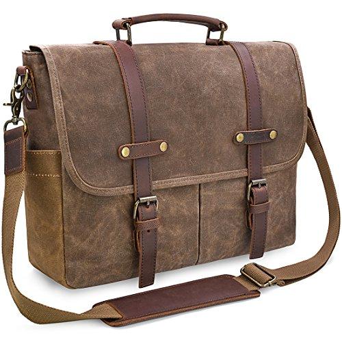 Mens Messenger Bag 15.6 Inch Waterproof Vintage Genuine Leather...