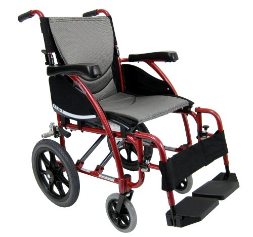 Karman Healthcare S-115-TP Ergonomic Ultra Lightweight Manual Wheelchair, Pearl Silver, 20' Seat Width