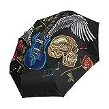 Ahomy Skull Guitar Wings Roses Rock Music Paraguas plegable lluvia a prueba de viento automático bloqueador solar compacto paraguas de viaje para mujeres hombres