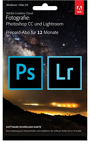 Adobe Creative Cloud Foto-Abo mit 20GB: Photoshop und Lightroom | 1 Jahreslizenz | PC/Mac | Key Card & Download