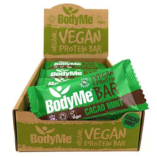 BodyMe Barritas Proteinas Veganas Organica | Crudo Cacao Menta | 12 x 60g Barra Proteina Vegana | Sin Gluten | 16g Proteína Completa | 3 Proteina Vegetal | Aminoacidos Esenciales | Vegan Protein Bar