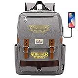 Mochila de Ocio Mochila para portátil de 15 Pulgadas para niño con Puerto de Carga USB Mochila para Estudiante de Viaje Grande Gris