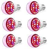 Olafus 6 Pack Lmpara de Plantas Bombillas LED E27 7W, Grow Light Iluminacin para Plantas Cultivo con Espectro Completo Estimula la Germinacin y la Floracin para Flores Hortalizas