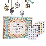 Glass Stone Art Craft Kit, Necklace Pendant and Bracelet Jewelry Making Supplies Includes Silver...