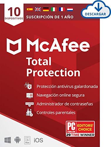 McAfee Total Protection 2021, 10 Dispositivos, 1 Año, Software Antivirus, Seguridad de Internet, Móvil, Control Parental, Compatible con PC/Mac/Android/iOS, Edición Europea, Descarga