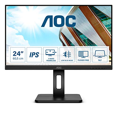 AOC 24P2Q - 24 Zoll FHD Monitor, höhenverstellbar (1920x1080, 75 Hz, VGA, DVI, HDMI, DisplayPort, USB Hub) schwarz
