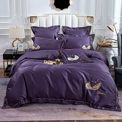 TheFit Paisley Bedding Dwelling for Grownup W2528 Darkish Circulate Feather Cover Cowl Set Egyptian Cotton 600 Thread Depend, Queen King Set, four Items (King)