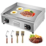 VBENLEM 30' Electric Countertop Flat Top Griddle 110V 4400W Non-Stick Commercial Restaurant Teppanyaki Grill Stainless Steel Adjustable Temperature Control 122°F-572°F
