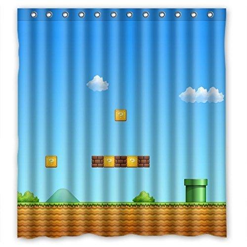 Presock Cortinas De Ducha, Super Mario Game Funny Waterproof Shower Curtain Eco-Friendly Fabric Bathroom Set with Hooks