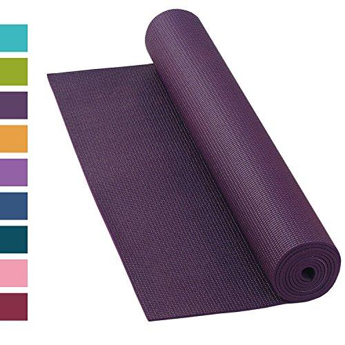 Yogamatte ASANA MAT, 183 x 60cm, 4mm PVC mit ÖKO-TEX 100, gute Yoga-Matte nicht nur für Anfänger, Sticky Mat, Gymnastikmatte, phtalatfrei, schadstofffrei (aubergine)