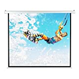 Pyle 84' Portable Motorized Matte White Projector Screen - Automatic Projection Display with Wall/Ceiling Mount, Remote and Case - for Home Movie Theater, Slide/Video Showing - PRJELMT86