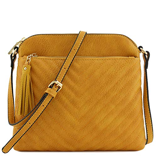 Chevron Quilted Medium Crossbody Bag with Tassel Accent (Mustard)