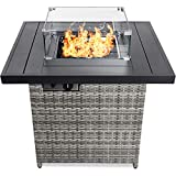 Best Choice Products 32in Fire Pit Table 50,000 BTU Outdoor Wicker Patio Propane Gas w/Glass Wind Guard, Aluminum Tabletop, Glass Rocks, Tank Storage, Lid, Cover - Ash Gray