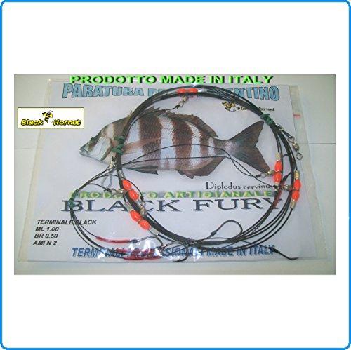 Piranha Fishing Line TERMINALE BOLENTINO Black Fury Finale Pronto per SARAGHI TANUTE PAGELLI PARAGHI