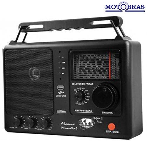 Rádio Portátil 12 Faixas com USB e SD 1W Preto RM-PF 122/AC - Motobras