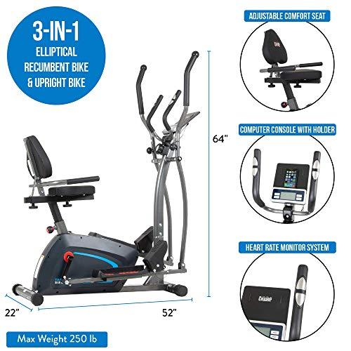 Body Champ 3-in-1 Exercise Machine, Trio Trainer, Elliptical and Upright Recumbent Bike 6