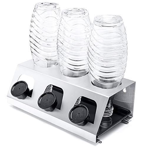 Luxebell Sodastream Flaschenhalter, 3er Abtropfhalter Sodastream aus Edelstahl mit Herausnehmbare Tropfschale Abtropfgestell für Sodastream und Emil Flaschen