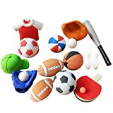 Toyvian 50Pcs Soccer Basketball Shaped Erasers Creative Pencil Eraser Student Gift Stationery
