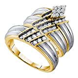 Sizes - L = 8, M = 12 - 14k Yellow Gold Mens and Ladies Couple His & Hers Trio 3 Three Ring Bridal...