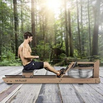Mr Rudolf Rameur d'eau en bois de chêne avec moniteur de puissance.