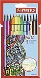 Feutre à dessin - STABILO Pen 68 - Étui carton x 12 feutres pointe moyenne -...