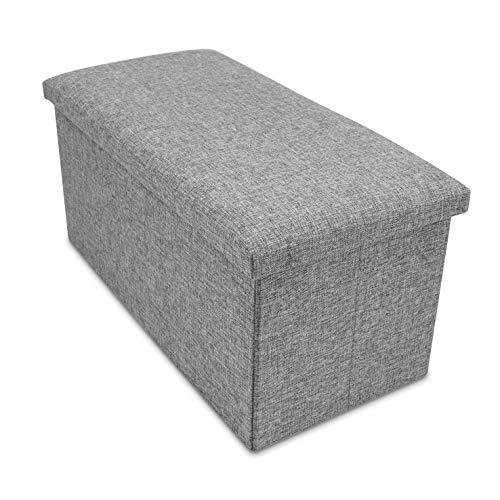 Grinscard Große Sitzbank mit Gepolstertem Deckel & Staufach - ca. 76 x 38 x 35 cm, Grau - Faltbare Sitztruhe zur Aufbewahrung