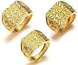 HALUKAKAH l'or Bénissent Tous Le Bague de l'homme en 18K Or Véritable Doré...