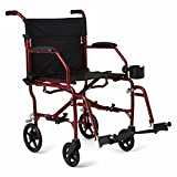 "Medline Ultralight Transport Wheelchair with 19"" Wide Seat, Folding Transport Chair with Permanent Desk-Length Arms, Red Frame"