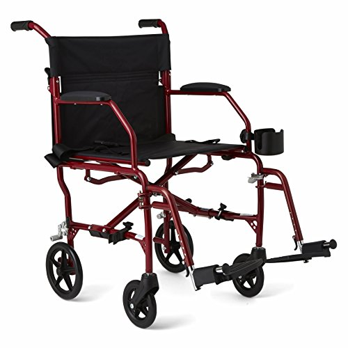 """Medline Ultralight Transport Wheelchair with 19"""" Wide Seat, Folding Transport Chair..."""