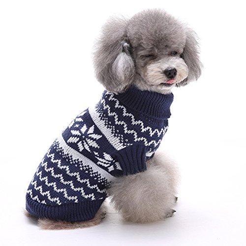 GWELL Hund Hundepullover Hundepulli Winter Strickpullover Sweater Cardigan Weihnachten Fasching Kostüme für kleinen großen Hund Katze Schneeflocke Blau L