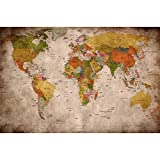 GREAT ART® Mural De Pared – Viejo Mapa del Mundo – Mirada Usada Globo Continentes Atlas Retro...