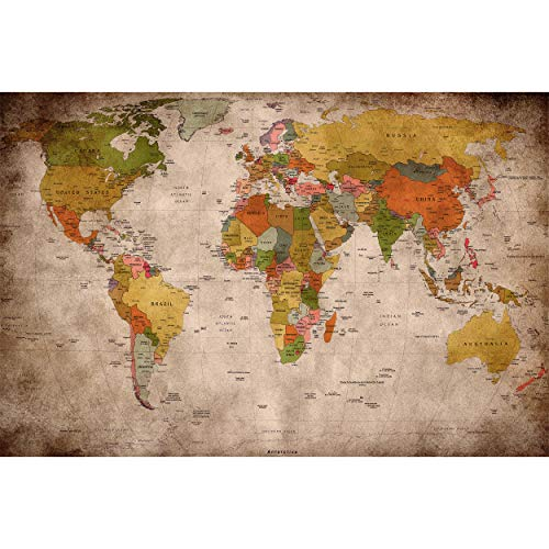 GREAT ART Photo Wallpaper – Retro World Map Used Look –...