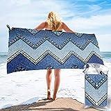 Lawenp Toalla de Playa de Secado rápido, Tela Vaquera Azul degradada con Estampado de Microfibra, Toallas de baño Ligeras, súper absorbentes para niños y Adultos, 27.5 'X55'