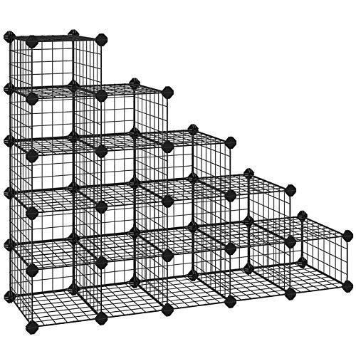 SONGMICS Zapatero Modular con 15 Cubos, Rejilla de Alambre...