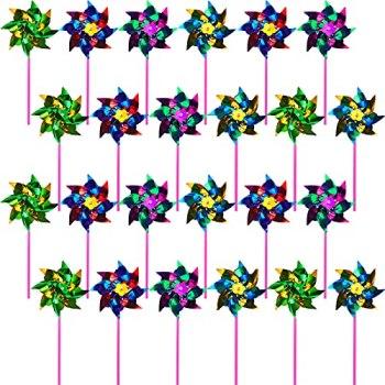 24 Pièces Moulins à Vent en Aluminium pour Jardin Moulinet Arc-en-Ciel Coloré DIY Moulins à Vent de Pelouse Jardin Effrayant pour Oiseaux Moulins à Vent Réfléchissants Scintillants