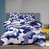 Holawakaka Boys Full Size Camouflage Comforter Set, Kids Teens Camo Quilted Bedding Sets Army Bedspread (Blue, Full)…