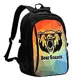 XCNGG Mochila USB con múltiples Bolsillos, Mochila Informal, Mochila Escolar Roaring Bear Travel Laptop Backpack with USB Charging Port Multifunction Work School Bag