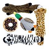 Toozey 5 Stück Hundespielzeuge Quitschend - DREI Füllungsfreie Spielzeug für Hund und Zwei Plüschtierspielzeuge mit Füllung - Sicher&Ungiftig Kauspielzeug für Kleine und Mittel Hunde