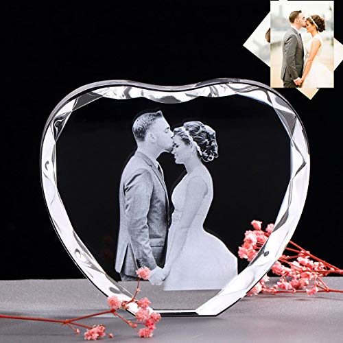 Custom Picture Crystal Heart Shape Couple Photo Frame,Etched...