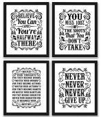 Motivational Inspirational Quotes Art Prints 4 Pack   Set of Four Photos 8x10 Unframed   Classroom Office Home Wall Art - Inspire Teen Boy Girl Fitness Success Workout Sports Gym Hard Work Decor